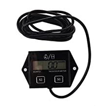 SODIAL(R) Spark Plugs Engine Digital Tach Hour Meter Tachometer Gauge Motorcycle ATV