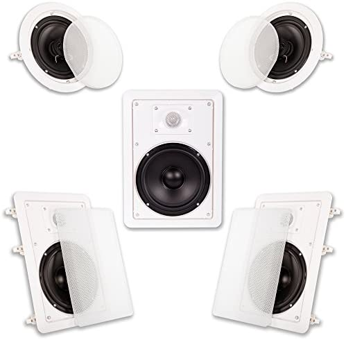 Acoustic Audio HT-65 in Wall in Ceiling 1250 Watt 6.5″ Residence Theater 5 Speaker System