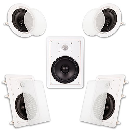 Acoustic Audio HT-65 in Wall in Ceiling 1250 Watt 6.5″ Home Theater 5 Speaker System