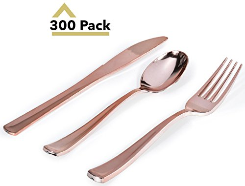 Plastic Silverware Set, Looks Like Rose Gold