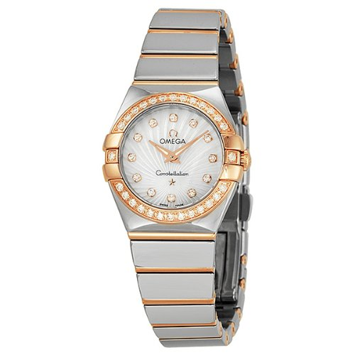 Omega Constellation Mother of Pearl Diamond Dial Steel and Rose Gold Ladies Watch 123.25.24.60.55.006