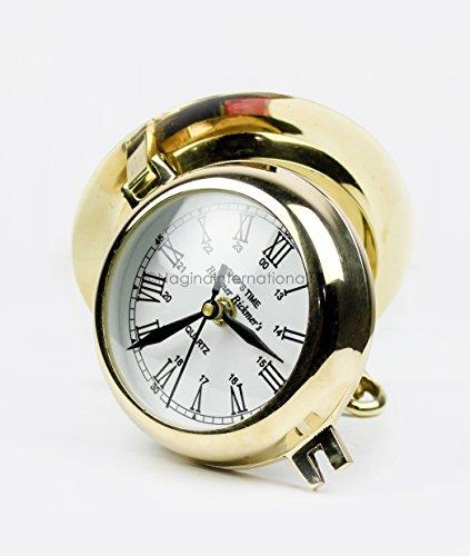 Nagina International Premium Polished Brass Time's Clock Porthole | Openable Pirate's Decorative Port Hole Time's Wall Metal Clock | Navy Nautical Maritime Decor - Clock Metal Pirates