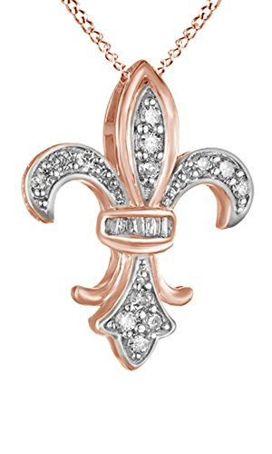 Fleur De Lis Gold Necklace (Round Cut White Cubic Zirconia Fleur-de-Lis Pendant Necklace in 14k Rose Gold Over Sterling Silver)