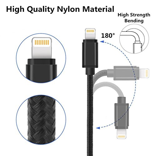 Lightning Cable iPhone Charger to USB Syncing and Charging Cable Data Nylon Braided Cord Charger for iPhone 5 Grey15
