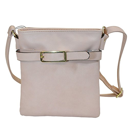 MoDA-Chic Buckled Fashion Collection Faux Leather Cross Body Purse (Toasted Almond)