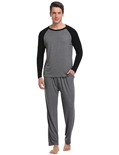 Aibrou Men's Cotton Sleepwear Long Sleeve Raglan Top and Bottom Pajama Set