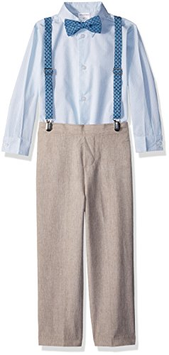 Van Heusen Little Boys' Four Piece Suspender Set, Linen Cornstalk, 5 by Van Heusen
