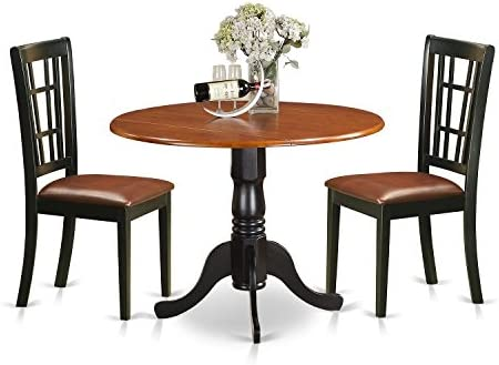 DLNI3-BCH-LC 3 PC Kitchen Table set-Dining Table and 2 Wood Kitchen Chairs