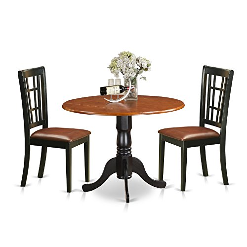 East West Furniture DLNI3-BCH-LC 3 Piece Dining Table and 2 Solid Wood Kitchen Chairs Dublin Set