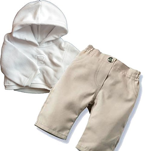 Middleton Doll Clothes- Tan Pants with White Hoodie for 19