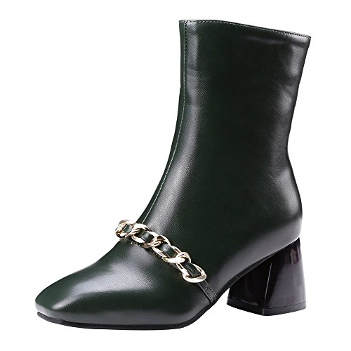 ENMAYER Frauen Square Toe Ritter Stiefel Kette Dekoration Zipper Mode Martin Stiefel Big Size Grün