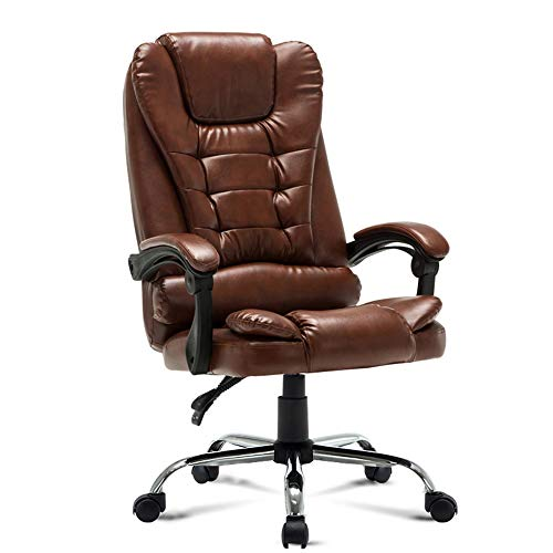 JIAYUAN Office Chair Executive Swivel Computer Chair Comfortable and reclined Back seat PU Leather Home Office Chair with armrests and Height Adjustable Bearing Weight 150kg Video Game Chairs