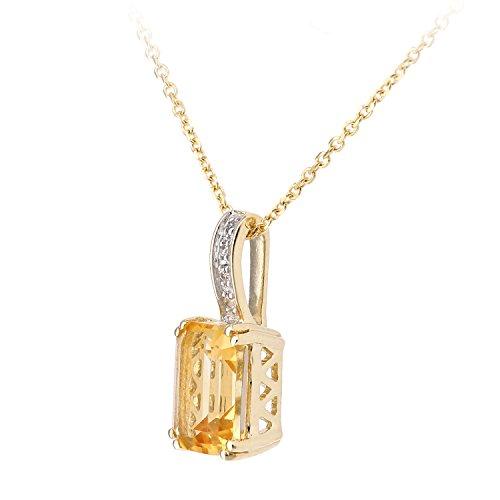 Revoni Bague en or jaune 9carats Diamant et Citrine Coupe Rectangle Pendentif Collier