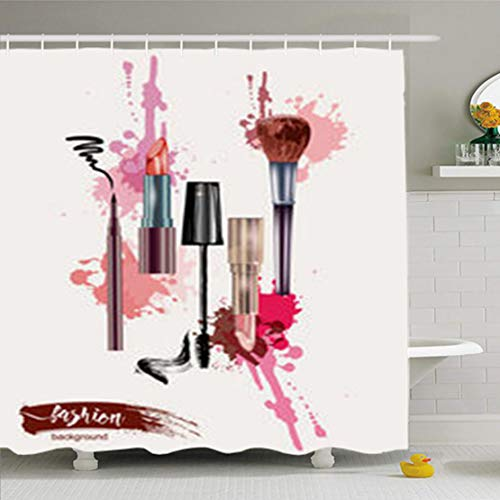 ArtsDecor Shower Curtains 66 x 72 Inches Pink Brush Cosmetics Make Up Artist Objects Lipstick Mascara Eyeliner Place Your Text Beige Waterproof Fabric Bathroom Home Decor Set Hooks