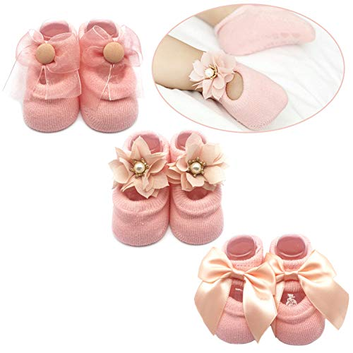 (Baby Girl Newborn Baby Photography Props Anti Slip Flower Pearl Bownote Socks )