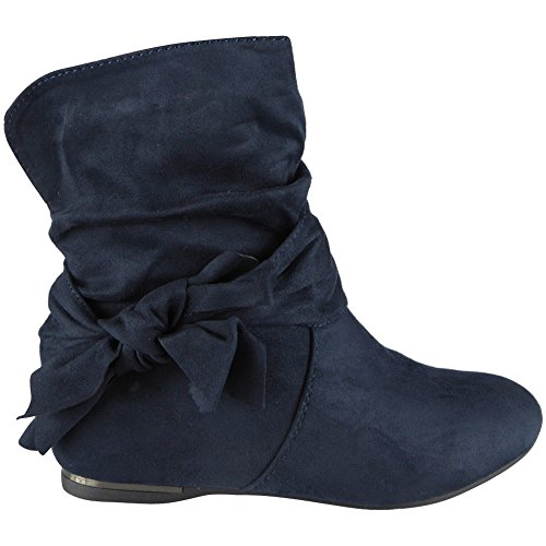 Loud Look Ladies Bow Faux Suede Slouch Heel Wedge Ankle Boots Size 3-8 Blue 4ASmagm