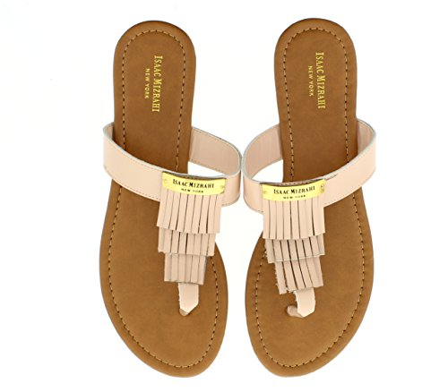 isaac-mizrahi-womens-keira-layered-kilty-fringe-gold-logo-plate-t-strap-slip-on-slide-thong-flat-san