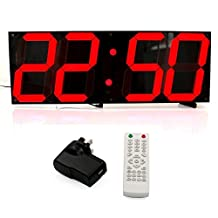 T Tocas 18-inch Jumbo Digital Red LED Wall Clocks w/ Thermometer, Calendar, Snooze, Remote Controller Black Background