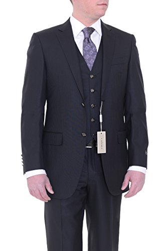 Canali Drop 8 Slim Fit 38L 48T Black Striped Two Button Three Piece Wool ()