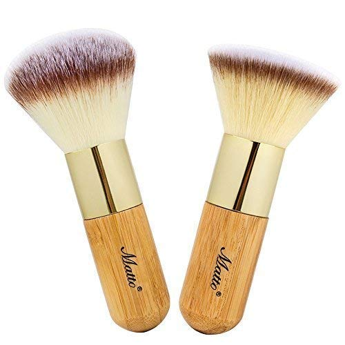 (Matto Bamboo Makeup Brush Set Face Kabuki 2 Pieces - Foundation and Powder Makeup Brushes for Mineral BB Cream)