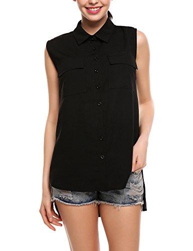Zeagoo Women Chiffon Sleeveless Blouse Button Down Shirt High Low Work Tank Tops