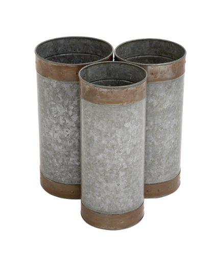 Benzara Attractive Styled Metal Galvanized Planter