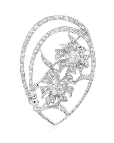 (14K White Gold Round Brooch (1.79 ctw, K Color, I2 Clarity))
