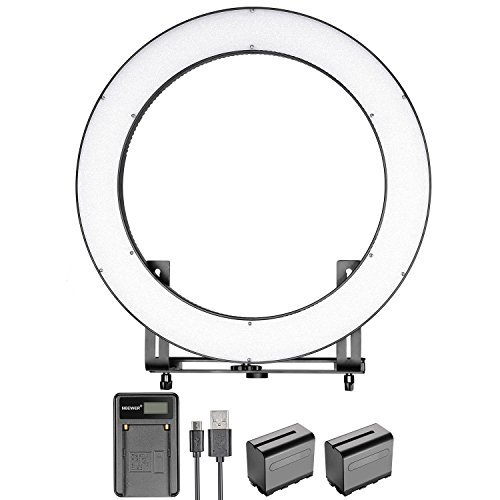 Neewer DVR-160TVC 19 inches Ring Light with Battery and Charger Kit-SMD LED Ring Light(3200-5600K,CRI 95+)with 4 Quarters ON/OFF Switch,Dimmer Control and Bracket for Makeup Portrait Video Recording by Neewer