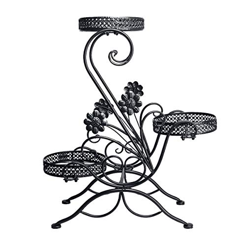 DAZONE 3-Tiered Scroll Classic Plant Stand Decorative Metal Garden Patio Standing Plant Flower Pot Rack Display Shelf Holds 3-Flower Pot (Black)