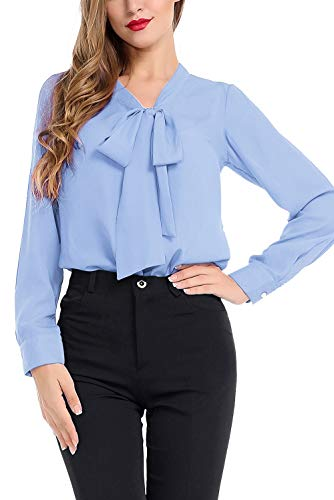 AUQCO Women's Chiffon Blouse Business Button Down Shirt for Work Casual with Long Sleeve/Sleeveless Sky Blue