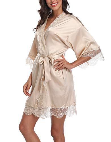 SUGAR JAN Women's Pure Color Satin Short Kimono Robes with Lace Trim Bridal Bathrobe Champagne-M ()