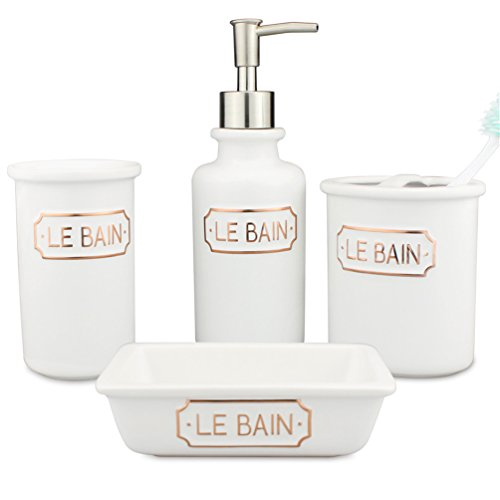 4-Piece Ceramic Bathroom Accessories Set Matt White With Golden LE BAIN Alphabet - Porcelain Includes Toothbrush Holder, Tumbler, Soap Dish, Dispenser Pump - Pottery Modern and Contemporary (Porcelain White Accessories)