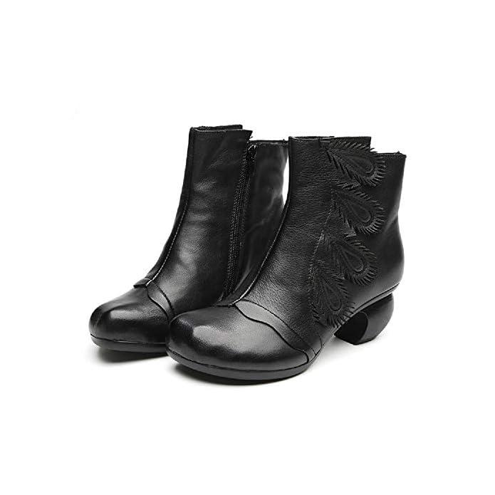 Gaslinyuan Block Boots Women Pattern Zipper Leather Casual Shoes colore Nero Dimensione Eu 36