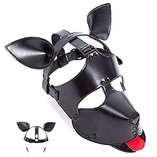 Dog Mask Leather (PU Leather Dog Mask Cosplay Puppy Play Dog Mask Hood with Ears and Tongue Pet Role Accessories)