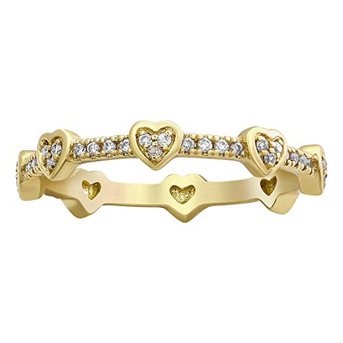 (Olivia Paris 1/5 Carat (ctw) 14k Yellow Gold Round Diamond Heart Shape Eternity Ring (H-I, I1) Size 8)