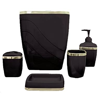 Carnation Home Fashions 5-Piece Plastic Bath Accessory Set, Black