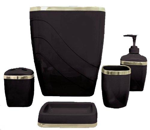 Carnation Home Fashions 5-Piece Plastic Bath Accessory Set, Black Black Carnation