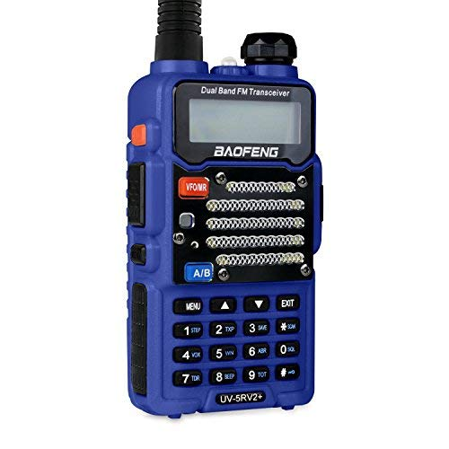 Baofeng Radio US Blue UV-5R V2+ (USA Warranty) Dual-Band 145-155/400-480 MHz FM Ham Two-Way Radio, Improved Stronger Case, Enhanced Features (Blue)