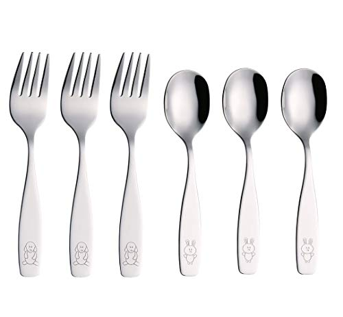 Exzact Kids Silverware 6 Pieces Children's Safe Flatware Set Stainless Steel - 3 x Children Forks, 3 x Children Dinner Spoons, Toddler Utensils (Engraved Dog Cat Bunny) (WF850-S6FS)