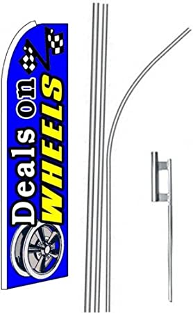 2 two DEALS ON WHEELS blue 15 Swooper #4 Feather Flags KIT