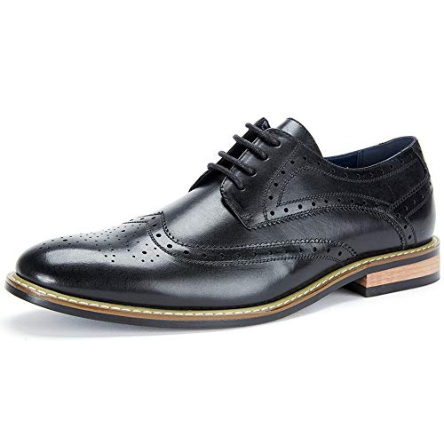 (Cestfini Leather Wingtip Dress Shoes for Men Business Casual Shoes, Brogue Formal Shoes, Lace-up Oxford Shoes MS008-BLACK-10.5)