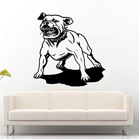 Mascotas Pitbull Fighter Perro Mejor Amigo Pegatinas De Pared Para Living Home Art Decor Vinyl Wall Decals Sticker 56x56cm Niños Dormitorio