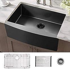 Farmhouse Kitchen 33 Farmhouse Sink ALWEN 33 inch Black Kitchen Sink Stainless Steel 10 inch deep, ALWEN Gunmetal Apron Kitchen Sink, 16… farmhouse kitchen sinks