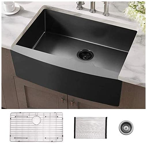 Farmhouse Kitchen 33 Black Farmhouse Kitchen Sink ALWEN Matte Surface Apron Front Farm Sink, 16 Gauge 304 Stainless Steel Single Bowl… farmhouse kitchen sinks