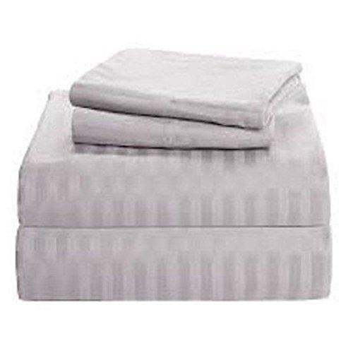 (Rajlinen Luxury Egyptian Cotton 5PCs Split Bed Sheet Set 650-Thread-Count Sateen Finish Split Queen Size Pocket Depth (+20 Inch) Light Grey Stripe)