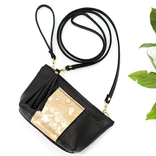(Black & Gold Leather Crossbody Convertible: Wristlet, Clutch, Purse - Cowhide Bag)