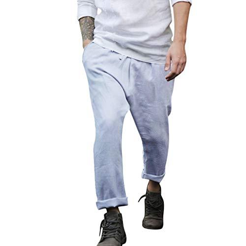 Aleola Men Summer Casual Cotton Long Pants Solid Color Beach Pants (Blue,XXXL)