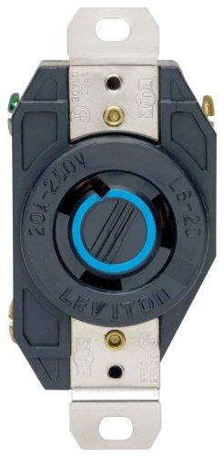 (Leviton 2320 20 Amp, 250 Volt, Flush Mounting Locking Receptacle, Grounding, Industrial Grade, V-0-MAX, pack of 1, Black)