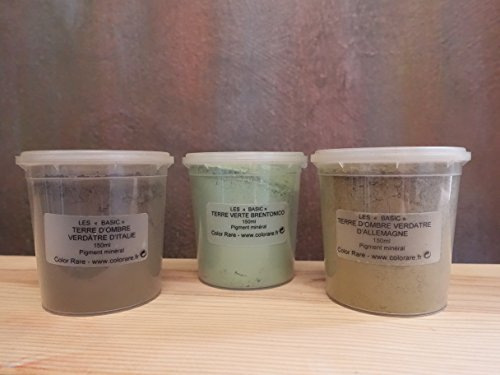 - The Green Collection - Pack of 3 Natural Mineral Pigment Pack (150 ml|5OZ EA): Light Green Umber Germany | Green Umber Italy | Brentonico Green