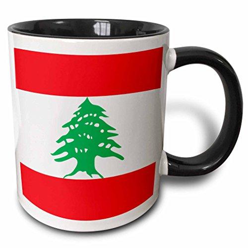 3dRose Flag of Lebanon - Lebanese red and white stripes with green cedar tree - Arabic country Arab world - Two Tone Black Mug, 11oz (mug_158355_4), 11 oz, Black/White